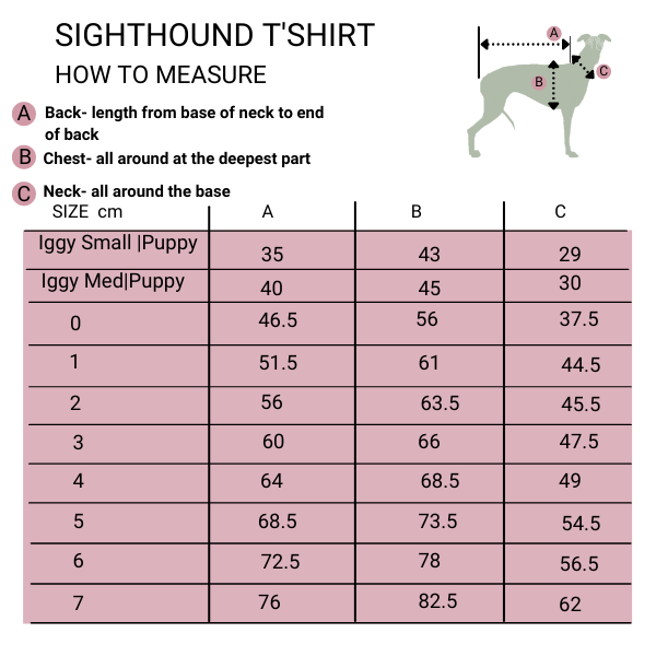 sighthound t'shirt size guide